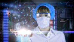 Lekarka z futurystyczną hud ekranu pastylką Neurony, móżdżkowi bodzowie Medyczny pojęcie przyszłość royalty ilustracja