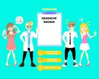 Lekarka z mężczyzną i kobieta ma mdłość, migreny kobieta i migrena i bierzemy medycyny pigułki leka, opieki zdrowotnej infographi ilustracji