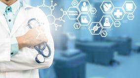Lekarka z nauki medyczne ikony Nowożytnym interfejsem Obraz Royalty Free