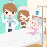 Lekarka z starą kobietą ilustracji