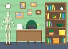 Lekarki biuro z bookcase i koścem royalty ilustracja