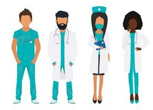 Lekarki drużyna odizolowywająca na białym tle ilustracji