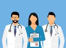 Lekarki i asystent w opatrunkowej todze z stetoskopem lekarka bez twarzy również zwrócić corel ilustracji wektora royalty ilustracja