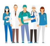 Lekarki i asystent w opatrunkowej todze z stetoskopem odizolowywającym na białym tle lekarka bez twarzy Wektorowy illustra royalty ilustracja