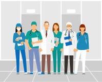 Lekarki i asystent w opatrunkowej todze z stetoskopem odizolowywającym na kliniki tle lekarka bez twarzy Wektorowy illustr ilustracja wektor
