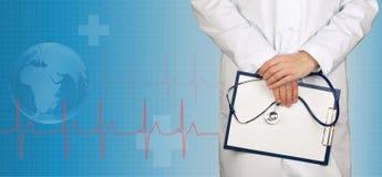 Lekarki i ecg linia na medycznym tle Obraz Royalty Free