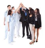 Lekarki i kierownicy robi wysokości pięć gestowi Obrazy Stock