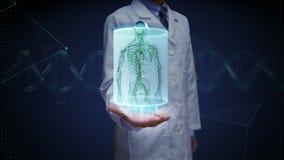 Lekarki otwarta palma, Żeński ciało ludzkie skanuje limfatycznego system Błękitny promieniowania rentgenowskiego światło ilustracja wektor