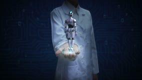 Lekarki otwarta palma, Wiruje 3D robota cyborga ciała sztuczna inteligencja Robot technologia zbiory