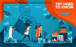 Lekarki pracują mocno znać naukę robić dobrej medycynie P?aska kresk?wka wektoru ilustracja ilustracja wektor
