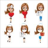 Lekarki ustawiać dziewczyny w różnorodnych pozach, kobiety lekarka, pielęgniarka, pracownik służby zdrowia z różnymi przedmiotami Zdjęcia Stock