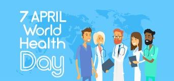 Lekarz Medycyny drużyny grupa Nad Światową mapą royalty ilustracja