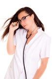 Lekarz medycyny issolated na białym tło fonendoskopie fotografia stock