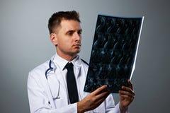 Lekarz medycyny z MRI dordzeniowym obrazem cyfrowym Obraz Royalty Free