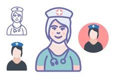 Lekarza medycynego lub piel?gniarki ikony lekarza medycynego wektorowy znak ilustracji