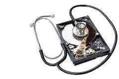 Lekarza ` s słuchawki z ciężką przejażdżką sprawdza i sprawdza fotografia stock