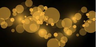 Lekcy abstrakcjonistyczni rozjarzeni bokeh światła Bokeh świateł skutek odizolowywający na przejrzystym tle Świąteczny złoty i pu ilustracji