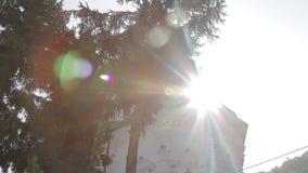 Lekcy promienie, kościół i drzewa, zdjęcie wideo