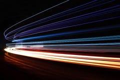 Lekcy tralight ślada w tunelu Długa ujawnienie fotografia w tunelu Obrazy Royalty Free