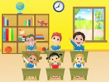 Lekcyjni aktywność dziecko w wieku szkolnym w sala lekcyjnej Fotografia Stock
