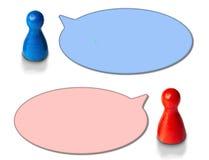 Lekdiagram med runt anförande bubblar på vit bakgrund Begrepp för diskussionen, pratstund, kommunikation fotografering för bildbyråer