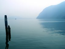 Leke Iseo. A misty view of Lake Iseo, Italy stock photos