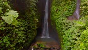 Leke Leke瀑布的鸟瞰图在巴厘岛,印度尼西亚密林  股票录像