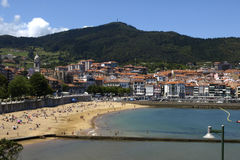 Lekeitio. The beach of the city of lekeitio in the basque country Stock Images