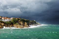 Lekeitio coastline with storm and rough sea Stock Photography