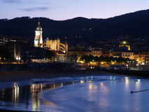 Lekeitio at dusk, Basque Country, Spain Royalty Free Stock Image