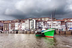Lekeitio port with some fishing ships and boats Stock Photo