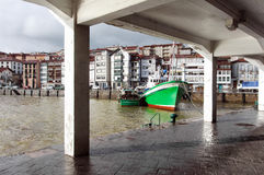 Lekeitio port with some fishing ships and boats Stock Image