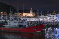 Lekeitio skeppsdockor på solnedgången Royaltyfria Bilder