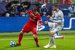"""Leken för liga för UEFA-mästare på stadion """"för RZD ARENA"""", Lokomotiv - Schalke 04 royaltyfri fotografi"""