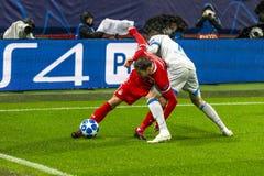 """Leken för liga för UEFA-mästare på stadion """"för RZD ARENA"""", Lokomotiv - Schalke 04 royaltyfri bild"""