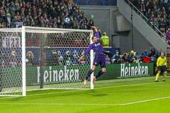 """Leken för liga för UEFA-mästare på stadion """"för RZD ARENA"""", Lokomotiv - Schalke 04 arkivfoto"""