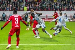 """Leken för liga för UEFA-mästare på stadion """"för RZD ARENA"""", Lokomotiv - Schalke 04 royaltyfria bilder"""