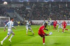 """Leken för liga för UEFA-mästare på stadion """"för RZD ARENA"""", Lokomotiv - Schalke 04 fotografering för bildbyråer"""