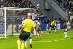 """Leken för liga för UEFA-mästare på stadion """"för RZD ARENA"""", Lokomotiv - Schalke 04 royaltyfria foton"""