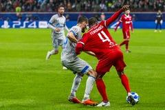 """Leken för liga för UEFA-mästare på stadion """"för RZD ARENA"""", Lokomotiv - Schalke 04 arkivbilder"""