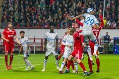 """Leken för liga för UEFA-mästare på stadion """"för RZD ARENA"""", Lokomotiv - Schalke 04 royaltyfri foto"""
