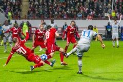 """Leken för liga för UEFA-mästare på stadion """"för RZD ARENA"""", Lokomotiv - Schalke 04 arkivbild"""