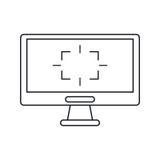 Leken för skärmdatoretiketten gör linjen tunnare Arkivfoto