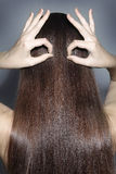 Långt hår av bruntet färgar Arkivbilder