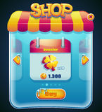 Leken shoppar fönstret för datoren app stock illustrationer