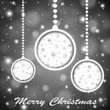 Leker med skinande jul för mjuk färgsilver stjärnor och snöflingor cuted i papper på suddig bakgrund stock illustrationer