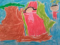 Lekfärgpenna i pre skola arkivbilder