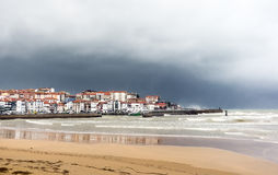 Lekitio village and beach with stormy weather. Lekitio village, beach and port with stormy weather Stock Photography