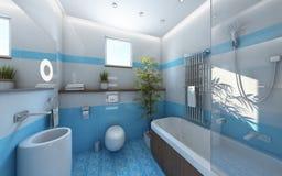 Lekka Bahtroom Błękitny Biel Płytka Zdjęcia Royalty Free