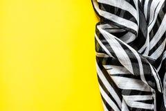 Lekka elegancka przejrzysta benzynowa chusta z czarny i biały lampasami z zebra ornamentu Odgórnego widoku czerni koloru tłem Obraz Royalty Free